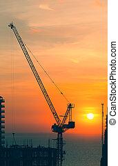 Construction Crane - Silhouette of construction crane.