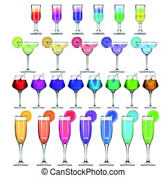 Set of stemware and glasses with cocktail - Vector set of...