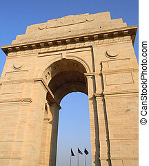India Gate arch in New Delhi India - Sculptural details of...