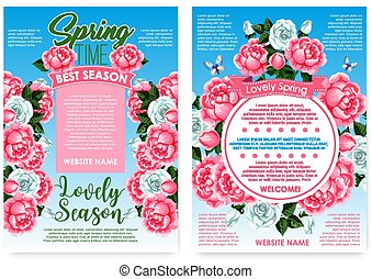 Posters rose flowers for spring holiday greetings - Spring...