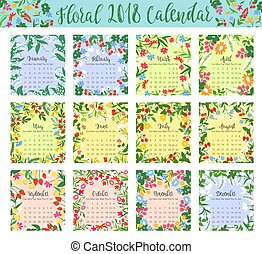 Floral calendar with wild flower and berry frame - Floral...