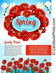 Vector floral poster for spring holiday greetings - Welcome...