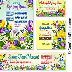 Springtime holidays floral banner template set
