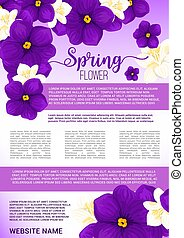 Spring flower bouquet greeting poster template