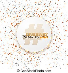 Vector Button Giveaway Social Media Template - Illustration...