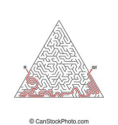 Vector Maze Icon Labyrinth Puzzle with Solution