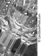 empty wine glasses - empty clean wine glasses in black and...