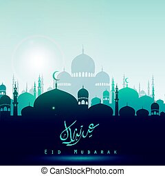 Eid Mubarak background with silhouette mosque in the bright...