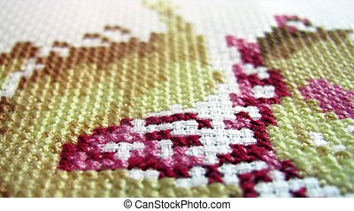 cross stitching - thread embroidery floss on a white canvas