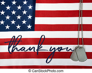 thank you and dog tags on flag - word thank you and military...