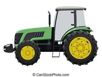 Green tractor a side view on white background