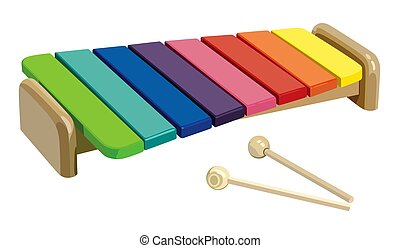 Children's rainbow xylophone on a white background