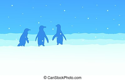 Landscape penguin on snow silhouettes