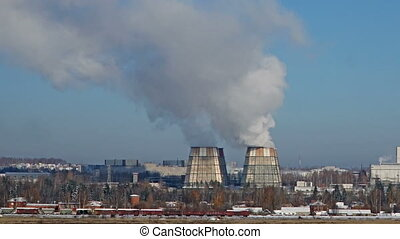 Smoking pipes of thermal power plant. Pollution of the...