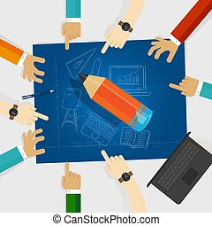 education developing idea together make plan. teamwork in business and education. big wooden pencil with hands around it and blueprint with sketch hand drawing