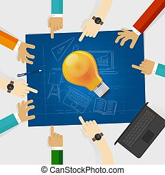 developing idea together make plan. teamwork in business and education. bulb lamp shine with hands around it and blueprint with sketch hand drawing