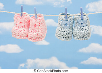 Two Pairs of Retro Baby Booties - Retro hand made baby...