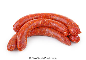 sausages - isolated sausages on white
