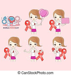 cartoon woman preventing AIDS on pink background
