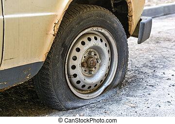 平ら, 古い, 道, タイヤ, 自動車