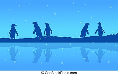 Silhouette of penguin on riverbank scenery vector art