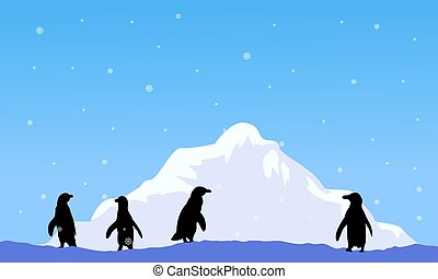 Mountain with penguin silhouette scenery