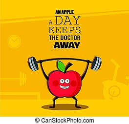 poster of happy apple exercise at a gym. Healhy lifestyle...