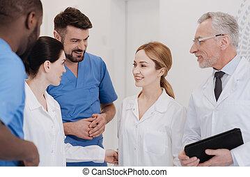 colega, médico, Clínica, equipe, Novo, reunião, amigável