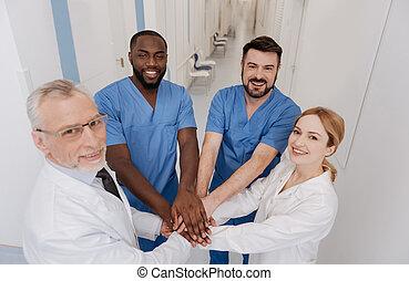 médico, Agradável, cooperação, equipe, desfrutando, hospitalar