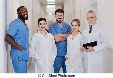 trabalhando, médico, alegre, cooperação, equipe, hospitalar