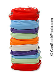 diaper - stack of diaper on white background