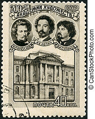 A stamp printed in USSR shows Artists and Academy of Art,...