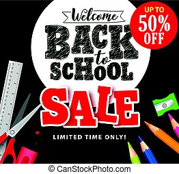 Welcome back to school sale text in vector with school items