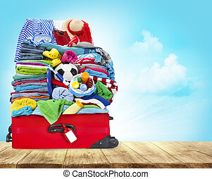 Suitcase Full Of Clothes, Open Luggage with Travel Baggage...