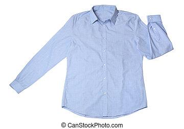 Blue dress shirt isolated on white background
