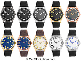 Selection of various wristwatch isolated on white background