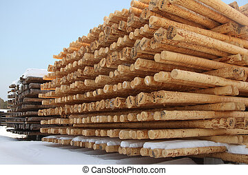 Rows of timber at a sawmill, a horizontal picture