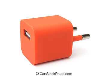 Electrical adapter to USB port on white background