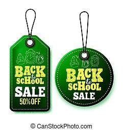 Back to school sale vector price tags and labels template