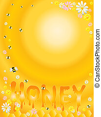 honey - an illustration of letters spelling out honey with...