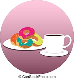 Coffee cup with donuts on plate. Vector illustration