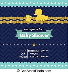 Lovely baby shower card template with golden glittering...