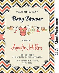 Beautiful retro baby shower card template with golden...