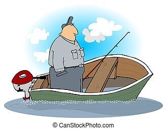 Man In A Sinking Motorboat