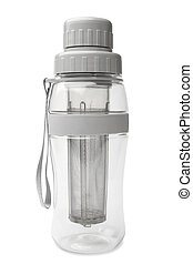 Transparent tea bottle with strainer on white background
