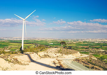 Wind turbines generating electricity with blue sky - energy...