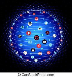 Global concept internet networking circle with flat icons illustration. Social Networking Creative Icon Collection. Global IT concept and planet earth