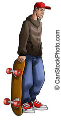 skate boy - skater with a grunge wear and a red hat