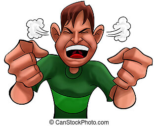 angry boy - A guy too angry with green shirts