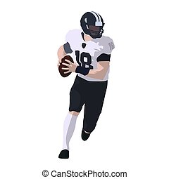American football player running with ball, abstract vector illustration